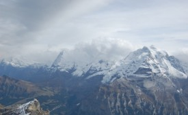 A view of the Eiger, Mönch (obscured) and Jungfrau from Piz Gloria